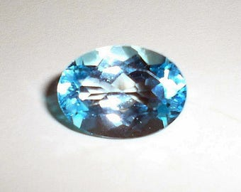 Genuine Natural Sparkling Sky Blue Swiss Topaz Oval Shape 6.5 Carat Size