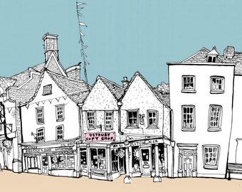 Tetbury illustration, fine art print, Tetbury - Original Illustration - #bs2andbeyond