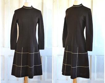 60s 70s Brown Windowpane Dress MOD Dress Bleeker Street Dress