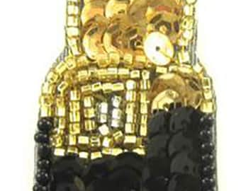 """Lipstick Appliqué with Red, Gold and Black Sequins and Beads  3.5"""" x 1""""  -15957"""