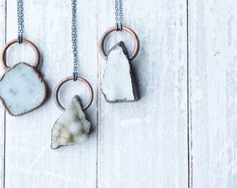 Druzy crystal necklace   Natural druzy pendant    Electroformed raw druzy necklace   Raw crystal jewelry   Undyed Druzy Necklace