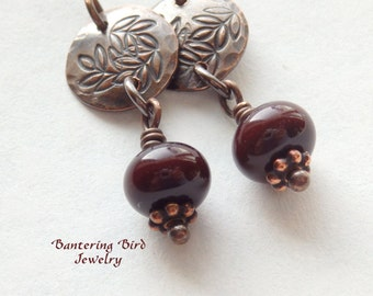 Dark Chocolate Lampwork Glass Drop Earrings, Small Leafy Copper Discs with Brown Bead, Unique Gift, Artisan Copper Jewelry