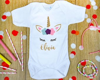 Unicorn Outfit for Girl, Baby Girl Outfit, Custom Unicorn Onesie, Unicorn Baby Shower, Personalised Unicorn Outfit, Unicorn Baby Shirt