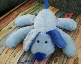 Stuffed Puppy Dog Soft Toy -  baby blue - Cobalt Blue Minky Dot Fabric - plushie - stuffed animal - baby shower gift -  puppy love
