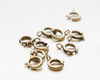 10pcs Antique Brass Plated Brass Spring Ring Round Clasp - Lobster Clasps-9mm (339C-I-30B)