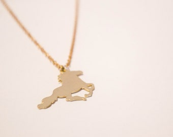 Raw Brass Horse Necklace