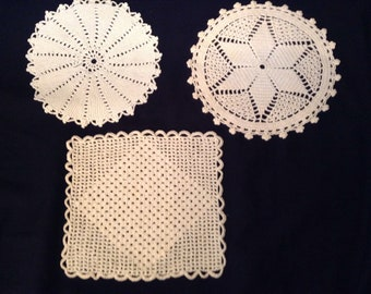 Vintage lot of 3 crocheted doilies                          202
