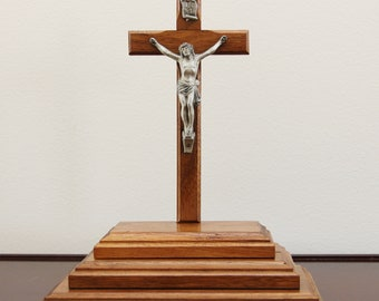 """10 1/2"""" Tall Vintage 1950s Wood Standing Crucifix on 3-Tiered Stand with Hidden Compartment"""