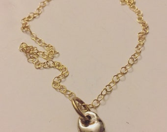 MMixed Metal Teardrop Charm Necklace