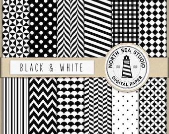 Black And White Digital Paper Pack | Scrapbook Paper | Printable Backgrounds | 12 JPG, 300dpi Files | BUY5FOR8