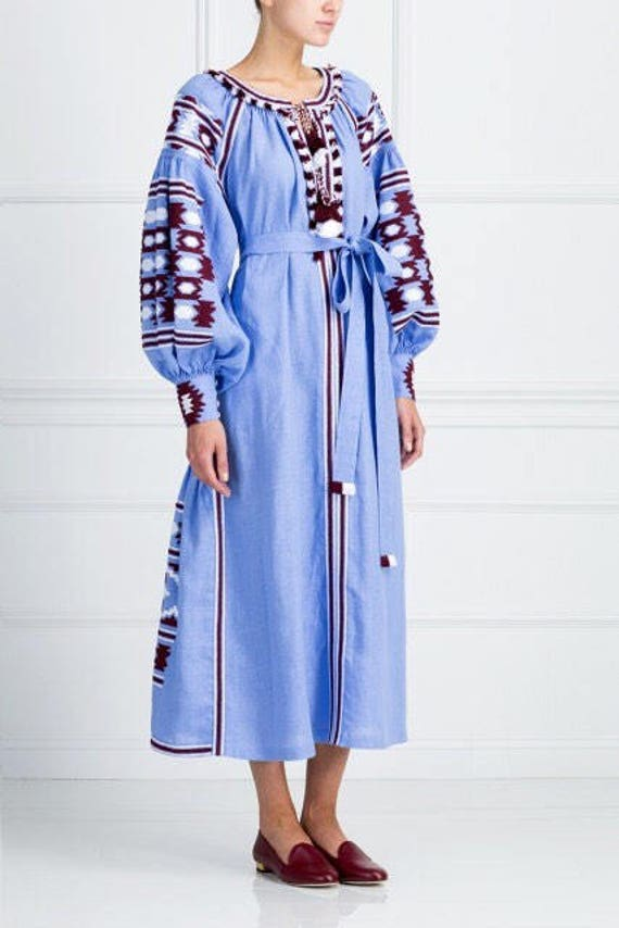 blue Light Caftan dress ljm ethnic long sleeve ljm style vyshyvanka embroidered dress bohemian fashion boho Ugqdqw5