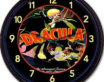 "Count Dracula, Dracula, Bela Lugosi, Wall Clock, Bram Stoker, Gothic, Vampire, Horror Movie, Classic, Fifties, 50s, New 10"""