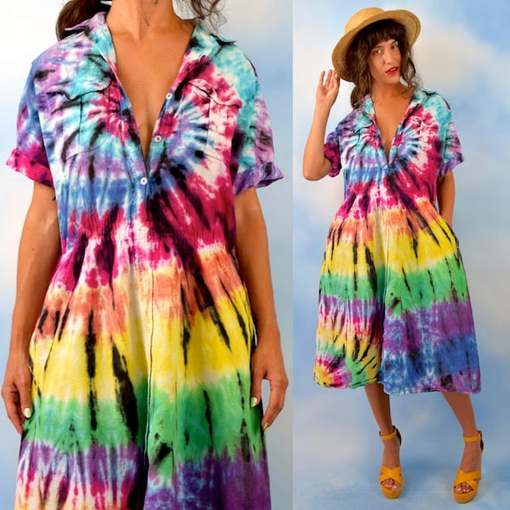 Vintage 80s 90s Rainbow Tie Dye Indian Cotton Shirt Waist Dress (size large, xl)