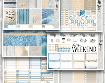 Beach Days || VARIOUS OPTIONS || Weekly Spread Planner Sticker Kit for Erin Condren, Happy Planner, Kikki K and More