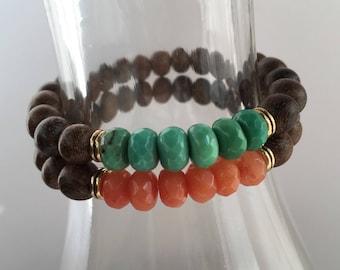 Wood Bead Stretch Bracelet, Stretch Bracelet, Stackable Bracelet, Jade Rondelle Stretch Bracelet, Boho Stretch Bracelet