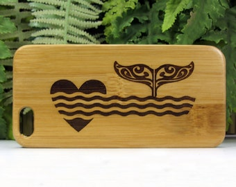 Whale Fluke iPhone 6 Plus or iPhone 6S Plus Case. Eco-Friendly Bamboo Wood Cover. Love Dolphin Whales Fluke Tribal Art Ocean. iMakeTheCase