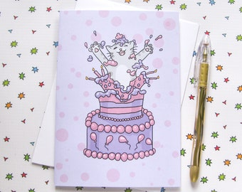 Birthday Cake Cute Cat Any Occasion Card Birthday Card Cute Greeting Card Kitty Present Gift Funny Humor purple