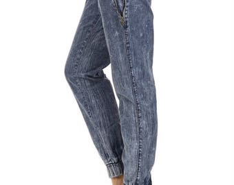 Fifth Degree Acid Wash Jogger Pants Denim Jeans Sweatpants - Free Shipping