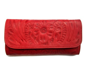 Women HandmadeTooled Cowhide Leather wallet.Trifold-Women's RED Leather WalletLeather Wallet Leather Purse.