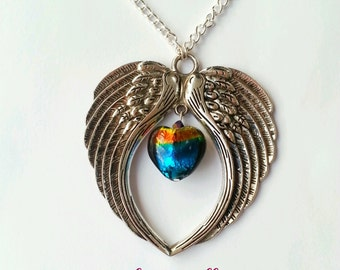 angel wings pendant - angel necklace - rainbow jewelry - rememberance jewelry - heart pendant - angel wing necklace - guardian angel