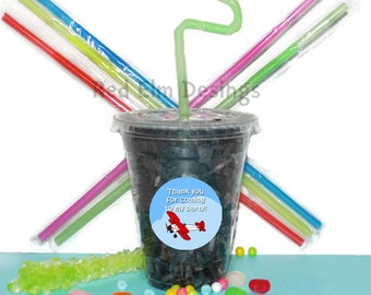 Airplane Cups, Airplane Party Cups, Kids Birthday Party Cups, 20 Cups, Jet Party Cups, Straws and Lids, 12 Ounce Cups