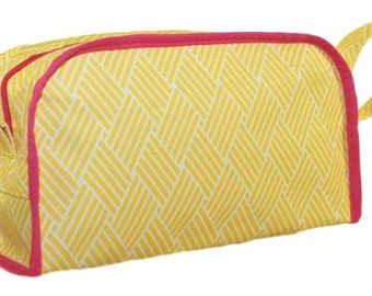Basket Weave Yellow Pink Trim Cosmetic Bag | Basket Weave Makeup Bag | Yellow Makeup | Yellow Cosmetic Travel Tote | Yellow Bridesmaid Gift