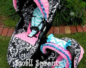 Black Damask/Blue Chevron/Pink Minky Swirl Stroller Seat Cover and Canopy set