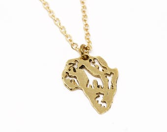 Africa Necklace - Continent Africa Pendant Necklace - Gold or Silver - Gold Africa Charm Pendant - Travel Necklace - Wanderlust Jewelry