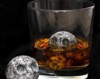 Whiskey Stones by Whiskey Bones - Hand Carved Human Skulls (Set of 2)