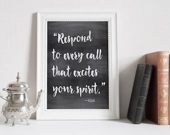 printable art Rumi quote, chalkboard quote ,Printable Wall art, typography quote, Instant download printable quote quote print quote poster