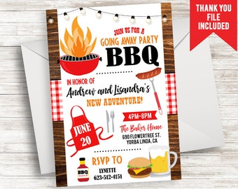 Going Away Party Invitation Invite Digital Moving BBQ Cookout Backyard 5x7 Barbecue Celebration