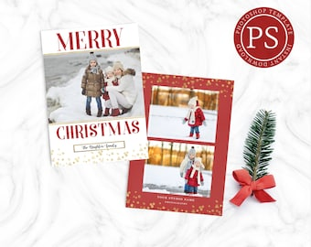 Holiday Photo Card Template - Christmas Card - Photoshop Template - Photographer Template - Glitter and Gold - Chrismtas Template - Glitter