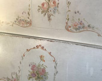 Gorgeous Antique Vintage Full Double Bed Frame Hand Painted Shabby Chic Roses White Gold