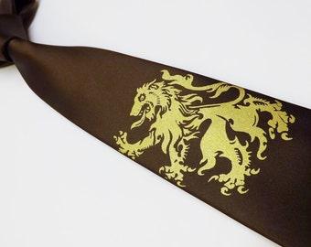 Necktie mens lion print tie hand print silk screen original designs custom colors by RokGear print to order wedding work or play