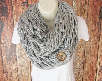 Double Loop Arm Knit Infinity Scarf with Button Cuff, Infinity Scarf, Chunky Cowl, Bulky Scarf