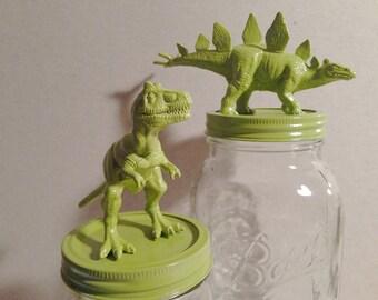 dinosaurs / custom dinosaur jars / animals / jars / canisters / mason jars / stegosaurus / t-rex / triceratops / brontosaurus