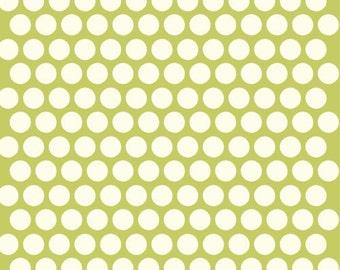 Organic Green Polka Dot Fabric - Birch Dottie 15 Inches - End of Bolt