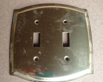 Vintage Brass Electrical double switchplate Switch Cover 70s Decorative Switch Plate outlet Cover