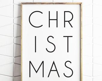 christmas printable, christmas decor, christmas wall art, christmas print, christmas download, black and white christmas decor