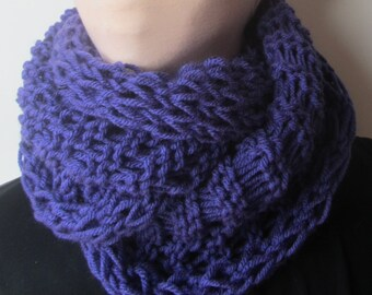 Purple Long Knit Cowl/Knit Scarf/Knitted Cowl/Knitted Scarf/Purple Cowl/Purple Scarf/Long Cowl/Long Scarf