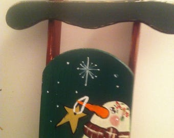 Hanpainted snowman sled,snowman decor,hanging sled,winter decor