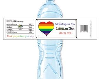 Wedding Water Bottle, Lesbian Wedding, Gay Wedding, LGBT Wedding, Gay Pride, marriage equality, two brides, two grooms (Set of 24)(Y320)