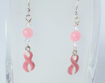 Pink Ribbon Awareness Earrings
