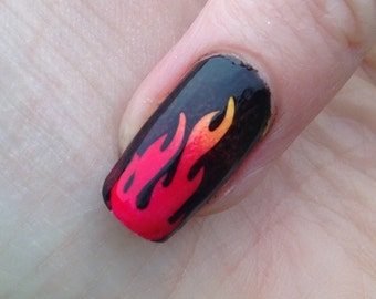 Fire Flames Nail Vinyls or Stickers