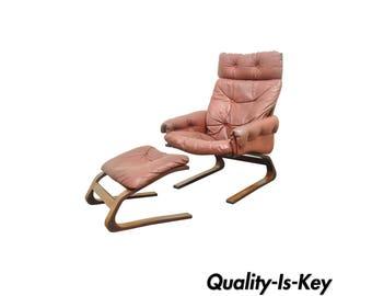 Rybo Rykken Mid Century Modern Rosewood Leather Kengu Lounge Chair Ottoman