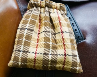 Ready to Ship Stirrup Covers - Brown and Tan Plaid Reversible - Cozies // Bags