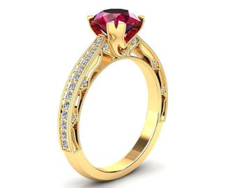 Ruby Engagement Ring 1.50 Carat Ruby And Diamond Ring In 14k or 18k Yellow Gold. Matching Wedding Band Available W21RUBYY