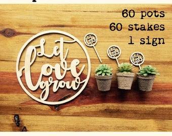 Special Offer - Let love grow. Wedding planter set.