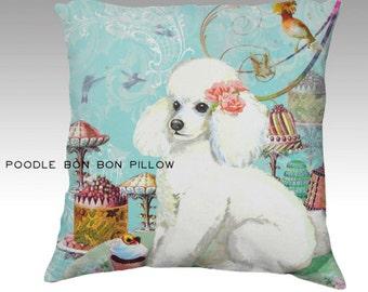 White Poode Cakes Birthday Party Velvet Velveteen Designer Pillow Cover Case Throw Accent