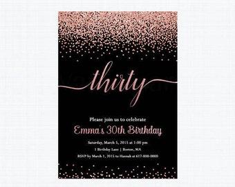 30th Birthday Invitation, Rose Gold 30th Birthday Invitation,   109 Printable